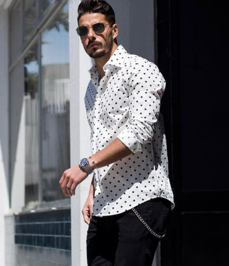 f1358acfa93 Men's Style Look: Polka Dot Shirt, Jeans, Chelsea Boots | MEN'S VECTOR