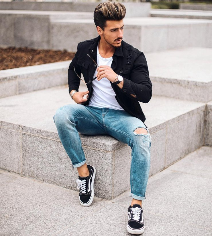 89f30a13e1 Menswear Look  Jacket + Ripped Jeans + Vans Sneakers